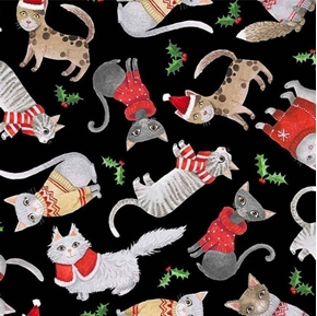 Purr-fect Holiday Cats in Christmas Sweaters Black Cat Cotton Fabric