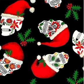 Christmas Sugar Skulls Holiday Skulls with Santa Hats Cotton Fabric