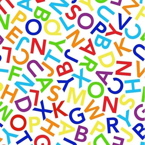 White Alphabet Dance Colorful Tossed ABC Letters School Cotton Fabric