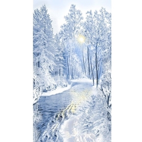 Winter Frost Blue Snowy Forest Scene 24x44 Cotton Fabric Panel