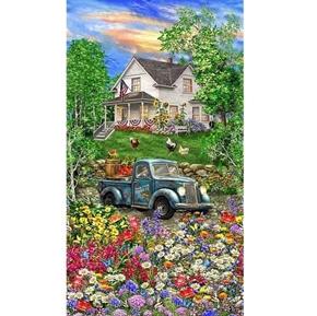 Blue Truck Sweet Summer Farm House 24x44 Digital Cotton Fabric Panel