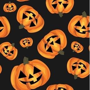 Happy Pumpkin Halloween Pumpkins Jack-o-lantern Black Cotton Fabric