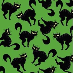 Creepy Cat Black Cats Green Halloween Cotton Fabric