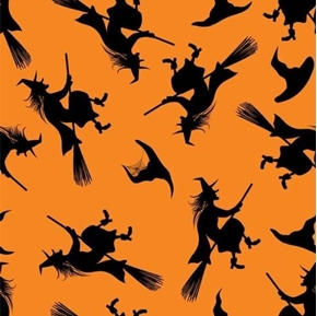 Broomstick Witch Silhouettes Halloween Witches Orange Cotton Fabric