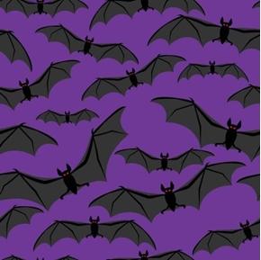 Spooky Bats Halloween Black Bats on Purple Cotton Fabric