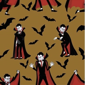 Wicked Vampires and Bats Halloween Dracula Brown Cotton Fabric