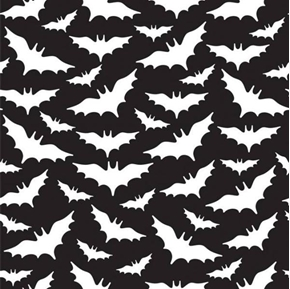 Flying Bats Spooky Bat Silhouettes White on Black Cotton Fabric