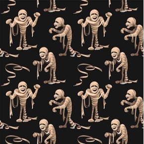 Terrifying Mummy Halloween Mummies Monster Zombies Black Cotton Fabric