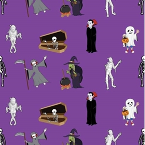 Halloween Creatures Skeletons Grim Reaper Ghosts Purple Cotton Fabric