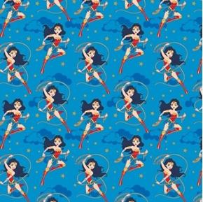Young DC Wonder Woman Action Lasso Comics Superhero Blue Cotton Fabric