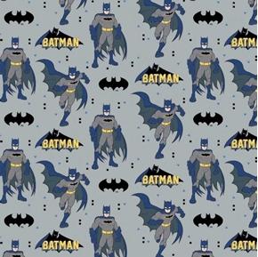 Young DC Batman Action Logos DC Comics Superhero Gray Cotton Fabric