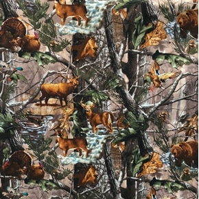 Realtree Animals in Forest Deer Bear Elk Turkey Hunting Cotton Fabric
