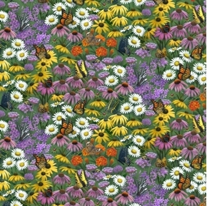 Butterfly Meadow Wild Flowers and Butterflies Daisies Cotton Fabric