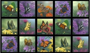 Butterfly Meadow Butterflies and Flowers 24x44 Cotton Fabric Panel