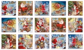 Santa Claus is Coming Christmas Holiday Patch 24x44 Cotton Fabric Panel