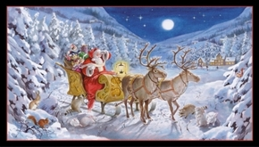 Santa Claus is Coming Christmas Sled Reindeer 24x44 Cotton Fabric Panel