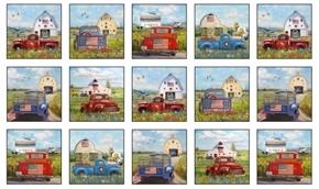 American Spirit Vintage Trucks Patriotic 24x44 Cotton Fabric Panel