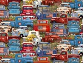 American Spirit Vintage Trucks Patriotic Flags Old Truck Cotton Fabric