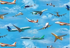 In Motion Jet Airplanes Flying on Blue Sky Jet Plane Cotton Fabric