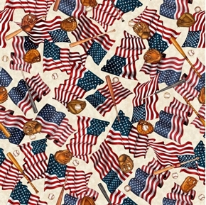 Americas Pastime Flags and Baseball Motifs Mitts Cream Cotton Fabric
