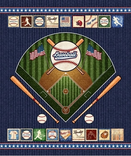Americas Pastime Baseball Field and Patches Navy Cotton Fabric Panel