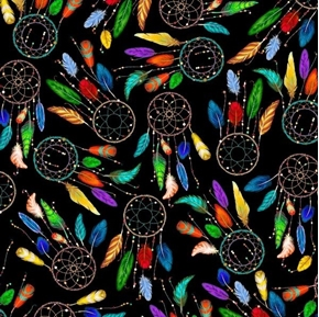 This and That Southwest Dreamcatchers and Feathers Black Cotton Fabric
