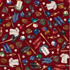 Americas Pastime Baseball Motifs Toss Equipment Wine Red Cotton Fabric