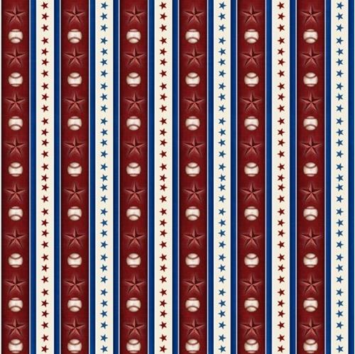 Americas Pastime Small Baseball Stripe Balls Stars Red Cotton Fabric