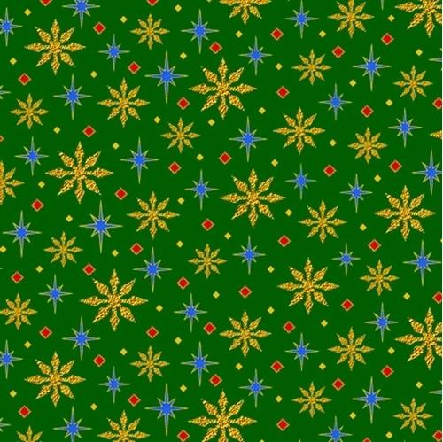 The Nativity Stars Christmas Holiday Green Star Cotton Fabric