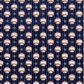 Americas Pastime Baseball Thin Stripe Stars Balls Navy Cotton Fabric
