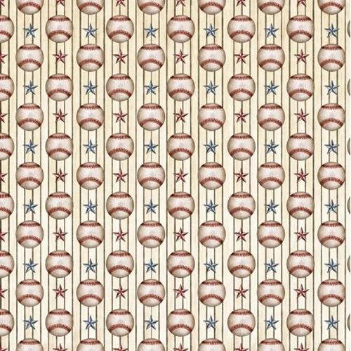 Americas Pastime Baseball Thin Stripe Stars Balls Cream Cotton Fabric