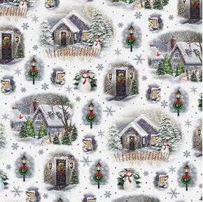 Winter Greetings Christmas Village Vignettes Snowy Town Cotton Fabric