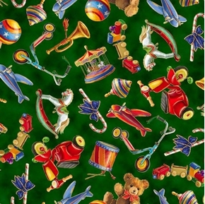 Santa's Night Out Tossed Toys Christmas Toy Green Cotton Fabric