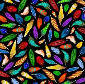 This and That Southwest Colorful Feathers on Black Cotton Fabric