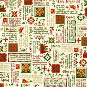 The Nativity Words Noel Rejoice Holy Night Christmas Cotton Fabric
