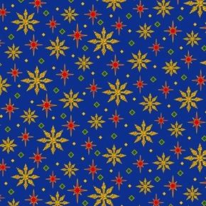 The Nativity Stars Christmas Holiday Royal Blue Star Cotton Fabric