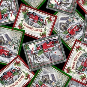 Winter Greetings Christmas Postcards Red Truck Snowman Cotton Fabric