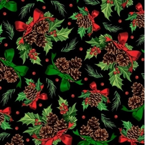 Winter Greetings Holly and Pine Pinecone Christmas Black Cotton Fabric