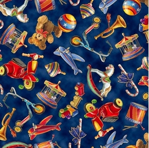 Santas Night Out Tossed Toys Christmas Toy Navy Blue Cotton Fabric