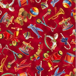 Santas Night Out Tossed Toys Christmas Toy Red Cotton Fabric