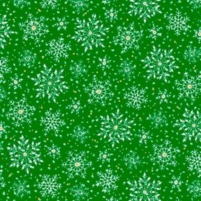 Santas Night Out Snowflakes Holiday Snow White on Green Cotton Fabric