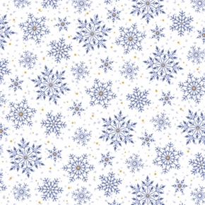 Santas Night Out Snowflakes Holiday Snow Blue on White Cotton Fabric