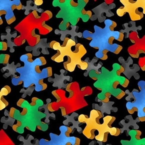 This and That Colorful Puzzle Pieces Puzzles Black Cotton Fabric
