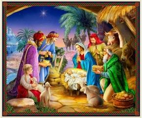 The Nativity Three Kings Jesus Birth Christmas Manger Fabric Panel