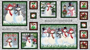 Winter Greetings Snowman Picture Patches 24x44 Cotton Fabric Panel