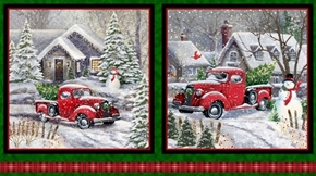 Winter Greetings Red Truck Christmas Picture 24x44 Fabric Pillow Panels