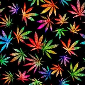 Happy Harvest Large Cannabis Leaves Rainbow Color Black Cotton Fabric