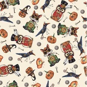 Steampunk Halloween Toss Mechanical Owl Cat Crow Cream Cotton Fabric