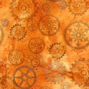 Aquatic Steampunkery Gears Clock Parts Orange Cotton Fabric