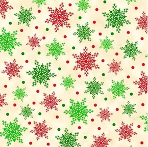 Christmas Cardinals Snowflakes Green and Red on Cream Cotton Fabric